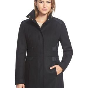 NWT! Via Spiga Faux Leather Trimm Black Wool Coat